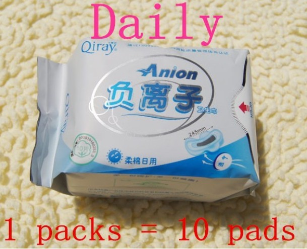 Winalite Lovemoon/Qiray Anion Sanitary napkin,Sanitary towels. pads,panty liners,Day Use sanitary napkins 3 packs= 30pieces/lot(China (Mainland))