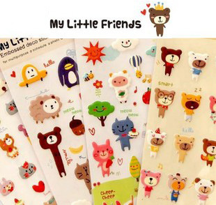 Free Shipping,24set/lot,New cute animal friend 3D pvc sticker,Decoration label,cartoon sticker,kawaii sticker,4 designs(ss-5536)<br><br>Aliexpress