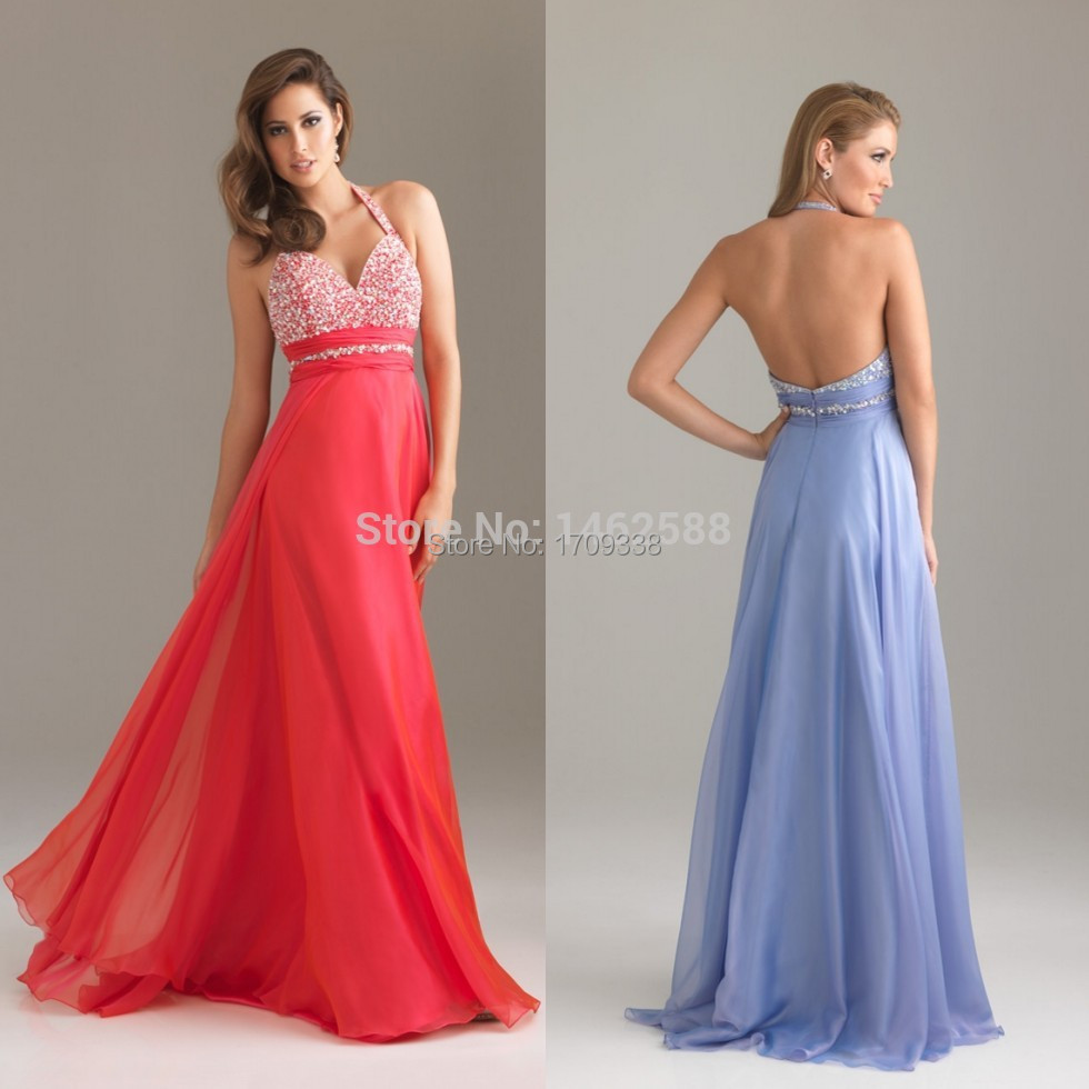 Red Lavender Chiffon Backless Evening Long Dresses With Halter Top 2016 cheap New Elegant Beaded Prom robe de soiree(China (Mainland))