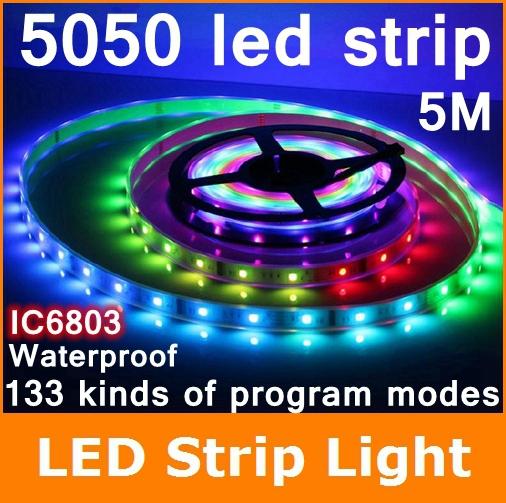 5m 6803 IC 5050 digital RGB led Strip RF remote control 150leds IP67 tube waterproof dream magic color 5A Led Strip 30LED/m(China (Mainland))