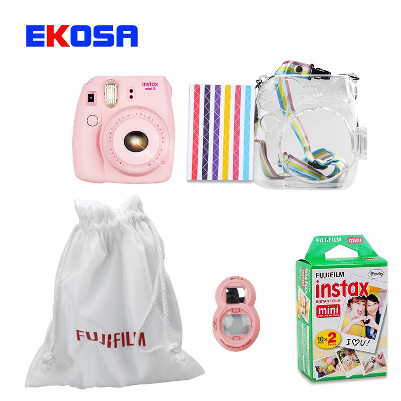 Fujifilm Instax Mini 8 Film Camera + Cloth Bag + Close-Up Lens + 20 Sheets Film + Transparent Plastic Bag Case Accessories Set