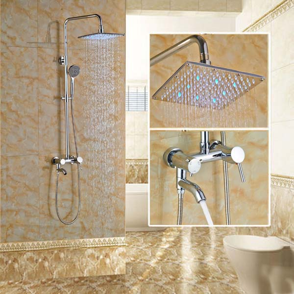 LED 10 Inch Rainfall Shower Set Hand Spray with Tub Spout Tap Chrome Finish(China (Mainland))