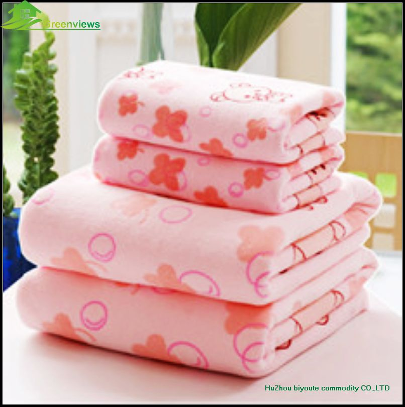Alibaba China Solid Color Microfiber Bath Towels Set Towel Set Microfiber Monkey Printed Bath Towel Gift Set(China (Mainland))
