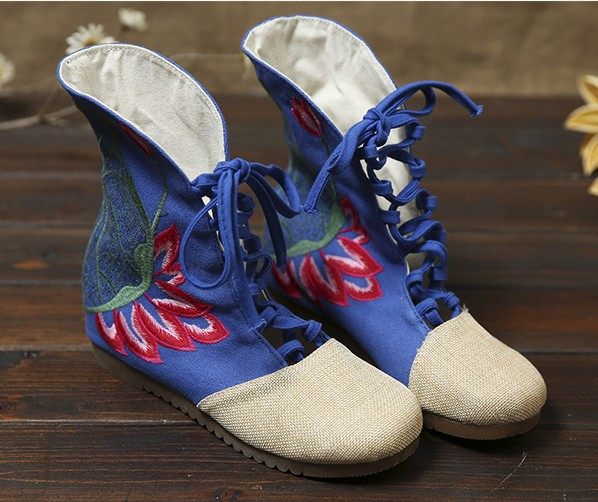 Women Fashion Embroidered Shoes Female Spring Height-increasing Cloth Boots Folk Design Performance Shoes Size 35~40<br><br>Aliexpress