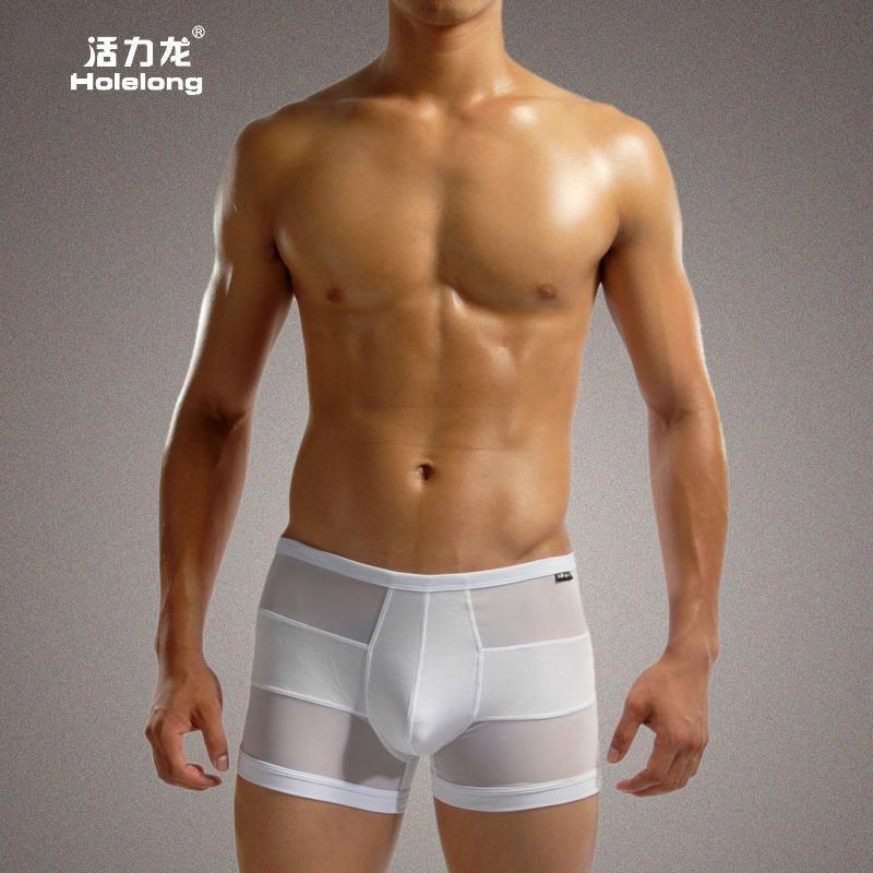 2016 Sale Gay Men's Boxer Briefs British Minimalist Style Mesh Breathable Underware See-through Sexy Shorts(China (Mainland))