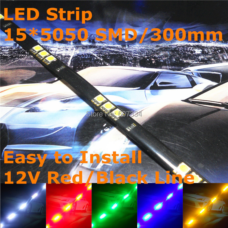 Stock Shipping New 12V Car LED Decoration Soft Strip 300mm (15*5050 SMD) For Out/In Door Signal Atmosphere Light(China (Mainland))