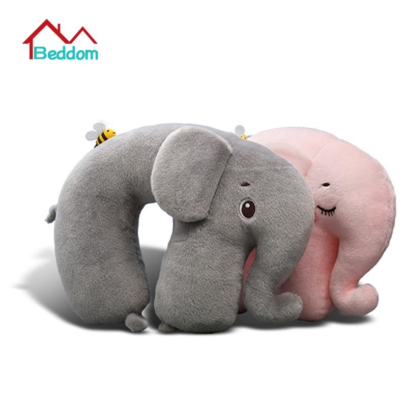 Beddom Creative Super Soft Elephant Plush U-shape Neck Pillow Health Care Headrest PP Cotton Filler For Car Flight Travel Office(China (Mainland))
