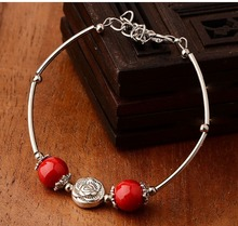 Free shipping original national wind Yunnan small jewelry wholesale simple features female Tibetan Tibetan silver bracelet SL019(China (Mainland))