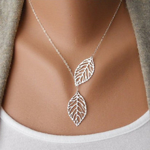 Creative Fashion Womens Necklace Girls Simple Metal Double Leaf Leaves Pendant Alloy Choker Necklace(China (Mainland))