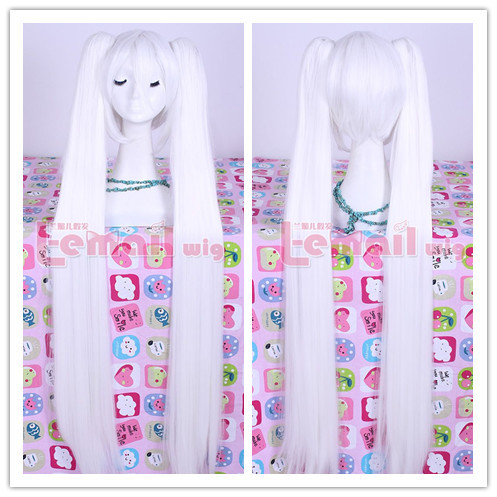 Free Shipping 120CM 48 Super Long Straight White Synthetic Wig Hatsune Miku Cosplay Anime Wigs<br><br>Aliexpress