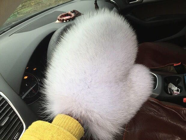 The new whole skin fox fur gloves Ms. autumn and winter outdoor warm gloves fashion fur mittens