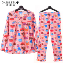 Song Riel autumn and winter men and women couples cartoon pajamas cotton long sleeved tracksuit pants