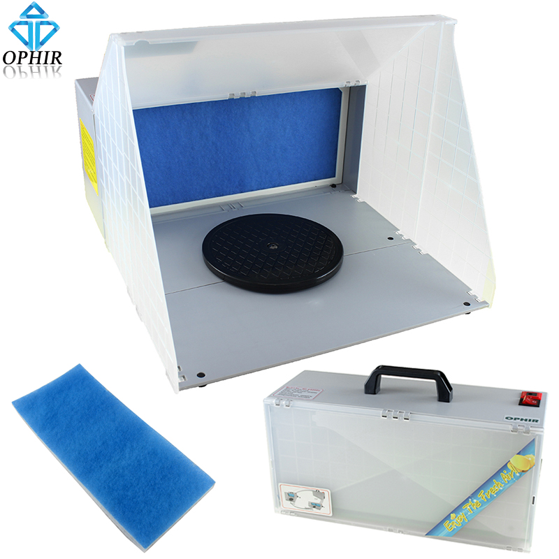 OPHIR Portable Airbrush Paint Spray Booth Hobby Airbrushing Booth with Exhaust Filter Extractor & Turntable Stand Model(China (Mainland))