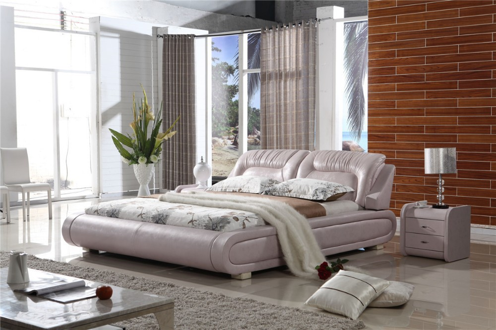 Malaysia Leather Bed P8048 # |Lizz Bed hot sale bedroom furniture King size leather soft bed large soft leather bed(China (Mainland))