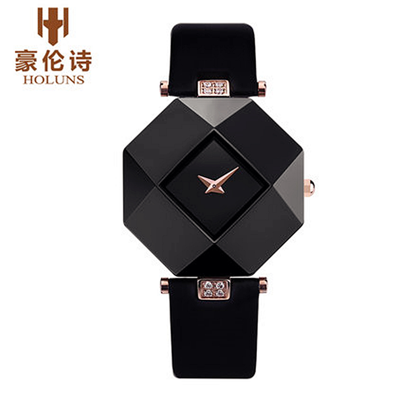 HOLUNS Fashion Sexy Women Dress Watches Sapphire Mirror Ceramic Small Dial Ladies Watch Leather Quartz Watch Relogio Feminino(China (Mainland))