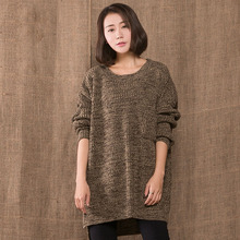 New Cotton Linen Women Pullover Sweater 2015 Fall Winter Literary Loose Long Sleeve Round Neck Plus Size Knitted Stripe Sweater(China (Mainland))