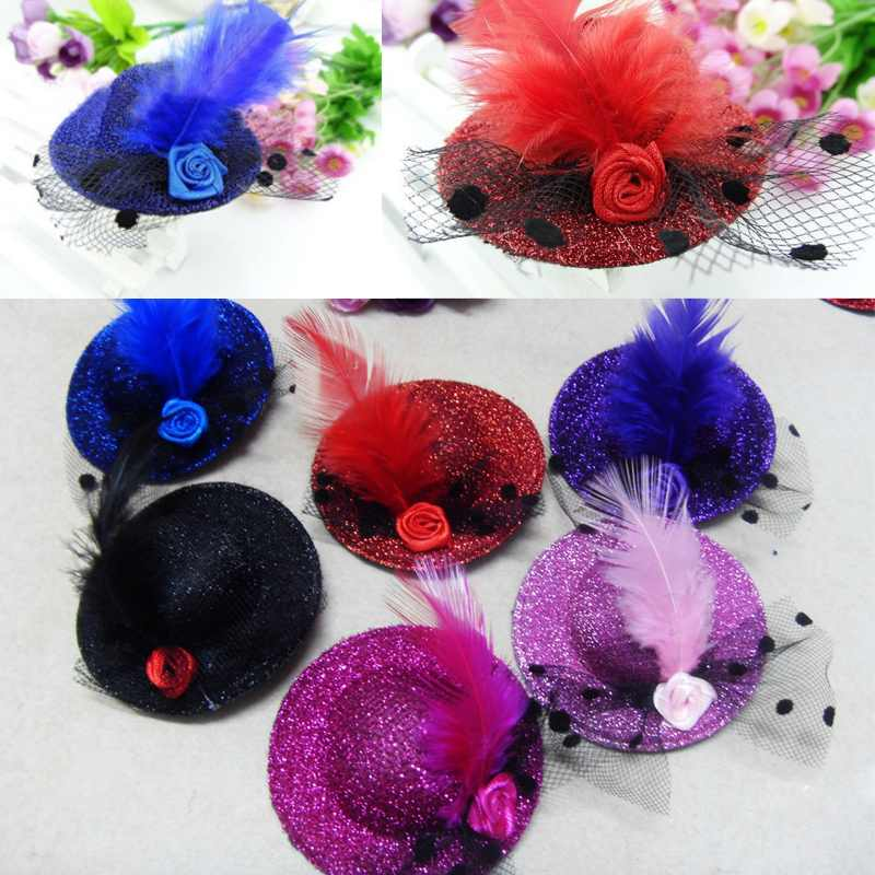 8pcs/lot girl baby feather hair clips, children hair accessories mini top hat clip 5.2CM free shipping(China (Mainland))