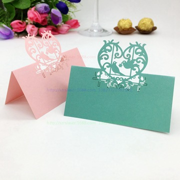 200Pcs Free Shipping Laser cut Lover Birds Wedding Place Cards name Card Desk Cards Colorful Theme Party Decoration W3(China (Mainland))