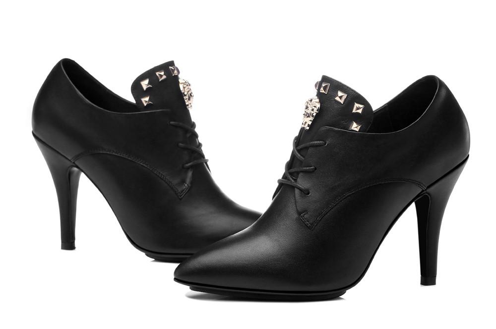 ซื้อ รองเท้าผู้หญิง2016แฟชั่นฤดูใบไม้ผลิใหม่/ฤดูร้อนผู้หญิงปั๊มแพลตฟอร์มแหลมนิ้วเท้าหนังแท้ผู้หญิงรองเท้าผู้หญิงรองเท้าส้นสูง8097-46