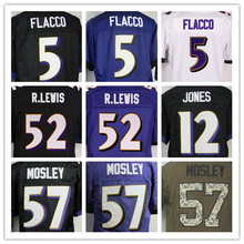 5 Flacco Jersey Elite #57 Mosley Jersey 100%Stitched Lewis Men's Jerseys Black Purple Size:M-XXXL Best Quality,Authentic Jersey(China (Mainland))