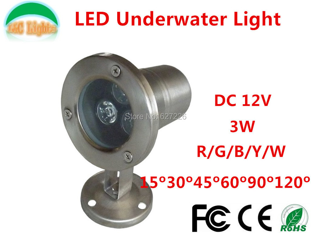 Free Shipping Single color 12V 3W LED Underwater Lights Outdoor Wterproof IP68 CE RoHS Use in Swimming Pool Fountain Pond(China (Mainland))