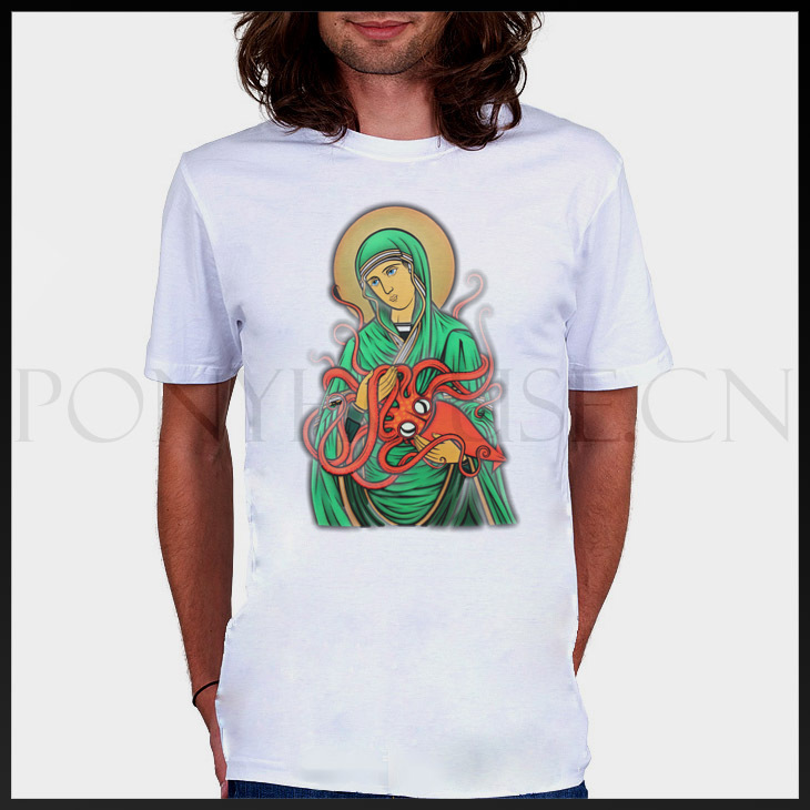Our Lady of octopus weird sci-fi religious T-SHIRT Cotton Lycra top 9823 Fashion Brand t shirt men new DIY Style high qualityОдежда и ак�е��уары<br><br><br>Aliexpress