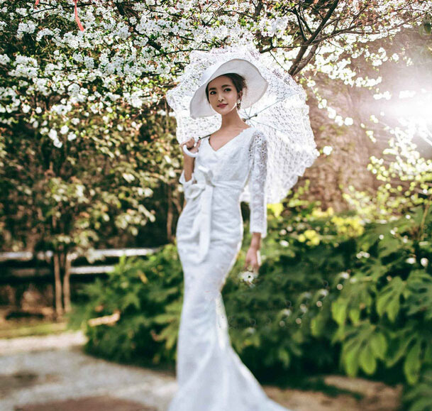 Large size lace auto opening wedding umbrella bridal for Umbrella wedding photos