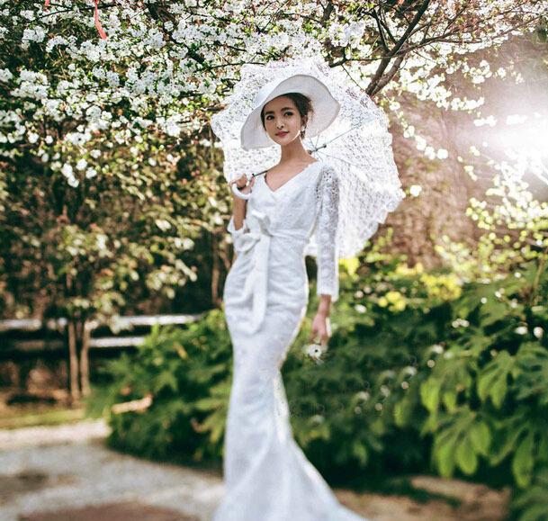 Large size lace auto opening wedding umbrella bridal for Umbrella wedding photos