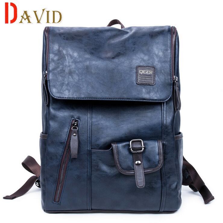 backpack travel bag PU Leather leather backpack bag men vintage bag men and women backpack large capacity 2016 fashion A3G78