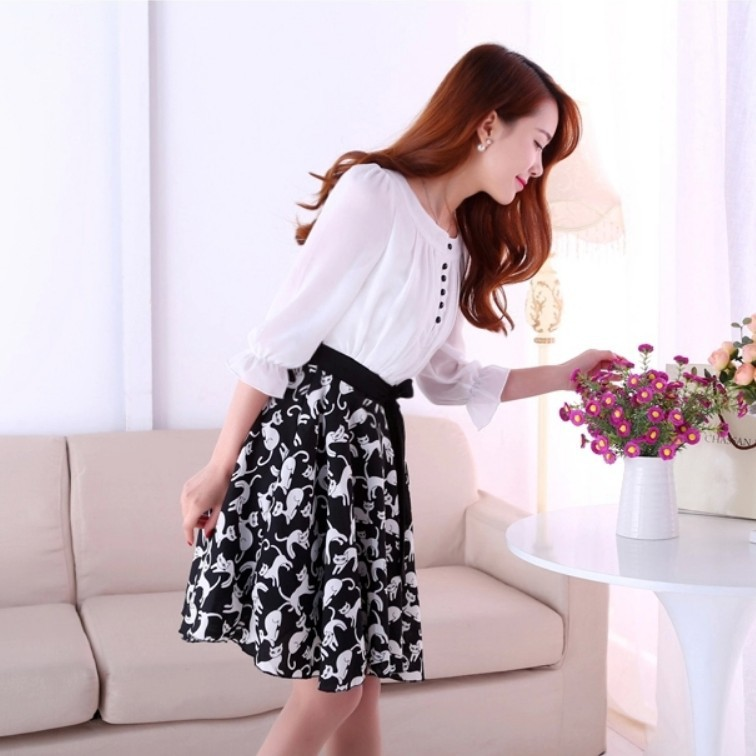 The new spring and summer 2015 sweet stamp seven point sleeve large swing slim chiffon dress femaledesigual clothing from China(China (Mainland))