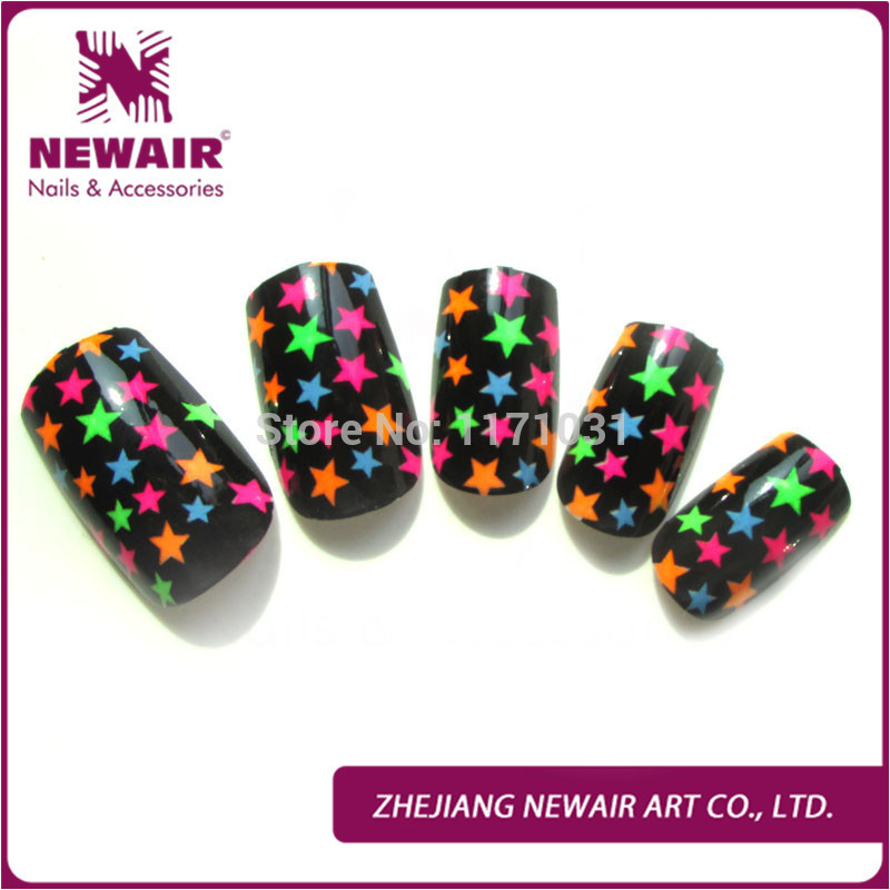 Colorful Star Pattern False Nails Short Design ABS Acrylic Full Cover False Nail Art Tips Display Decoration Tips With Glue(China (Mainland))