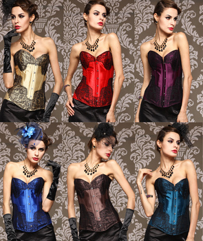 Elegant New Lace Overlay Satin Burlesque Corset Lace-up Back Bustier With 6 Colors Lace Cover Corset