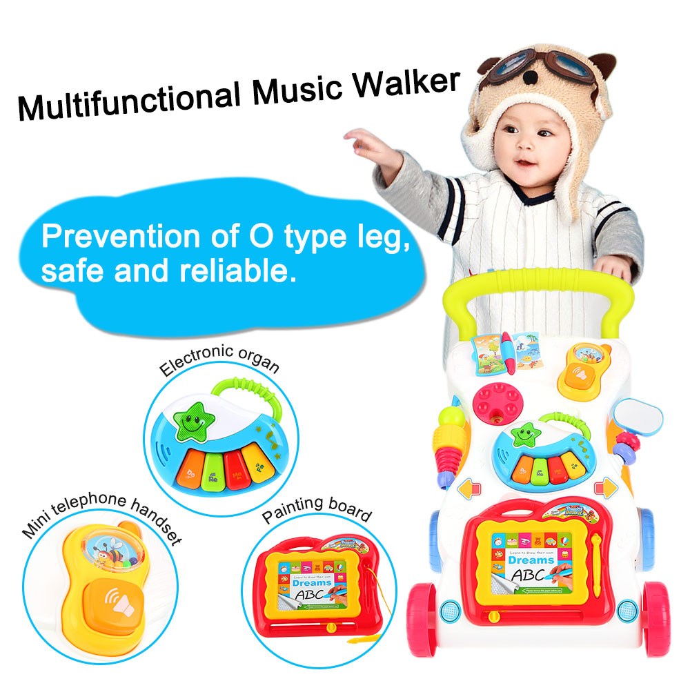 High Quality Baby Walker Multifuctional Toddler Trolley Sit-to-Stand ABS Musical Walker with Adjustable Screw