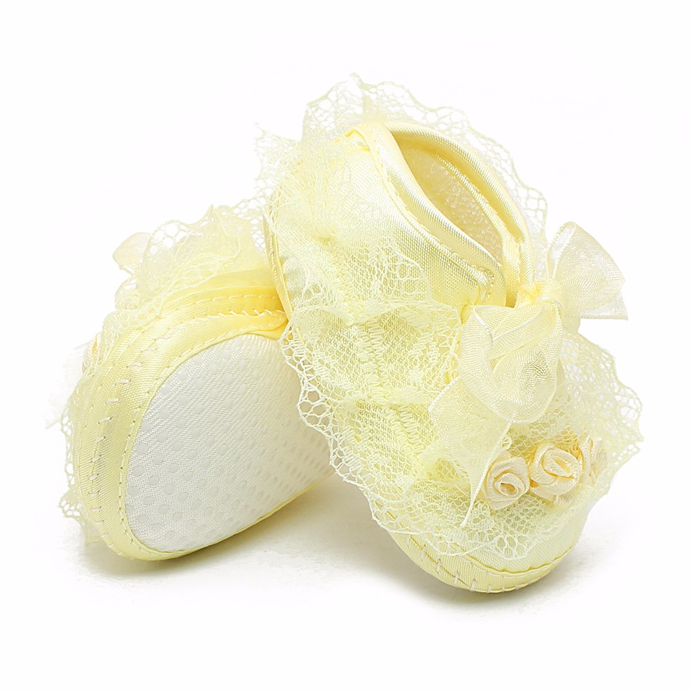 The New Fashion Lace Infant Baptism Toddler Shoes And  Cotton Lace-Up Butterfly For Baby Girls Shoes Handmade High Quality