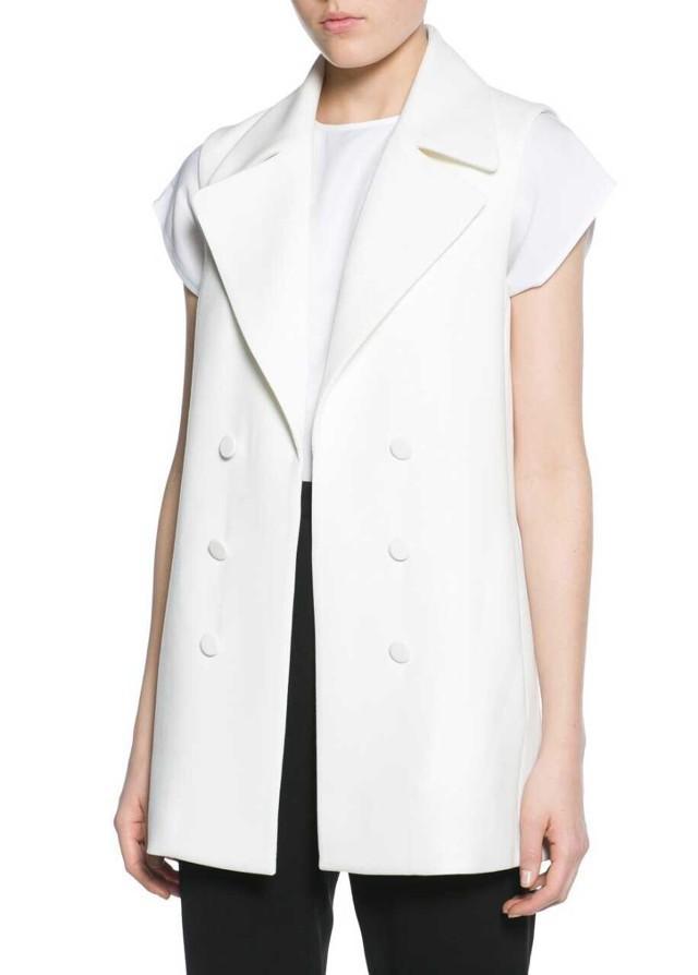 HA16 Fashion New 2015 Brief Office Lady Autumn Elegant jackets Vests White Sleeveless black Outerwear Casual brand Coats(China (Mainland))