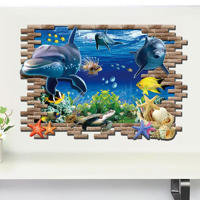 3d underwater world dolphin aquarium art atoll reef wall for 3d aquarium wallpaper for bedroom