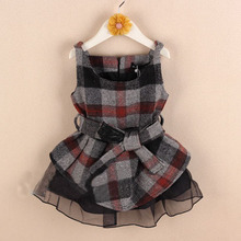 whoelsale(5sets/lot) child girl sutumn and winter plaid with lace sleeveless shirt and shorts sets