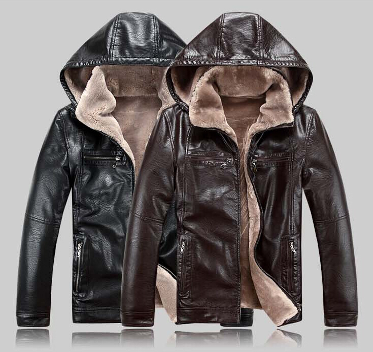 New winter motorcycle genuine leather jacket men fur belt cap sheepskin leather jackets male Outdoor Sports locomotive fur coat(China (Mainland))