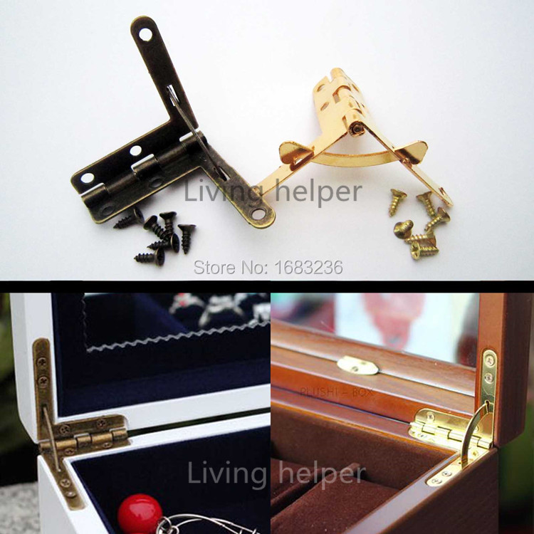 12X Golden Antique Brass Jewelry Gift Wine Case Watch Box Wood Lid L 90degree Support Spring Hinge Display(China (Mainland))