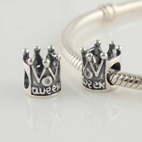 Новинка винтаж стерлингового серебра 925 королевский королева слайд европейский бусины , пригодный для пандора шарм браслеты и ожерелья