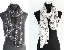 4pcs/lot Wholesale New Punk Bulb Bone Skull US Dollar Sign Design Scarf Shawl Color 2colors(white,black)(China (Mainland))