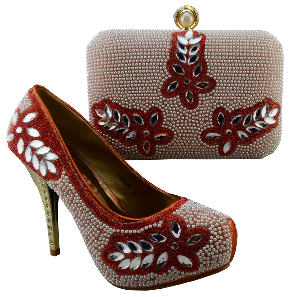 Lastest design high quality african shoes and bags sets with beads and stones 12 cm high heel size38-42 NO.s16011527(China (Mainland))
