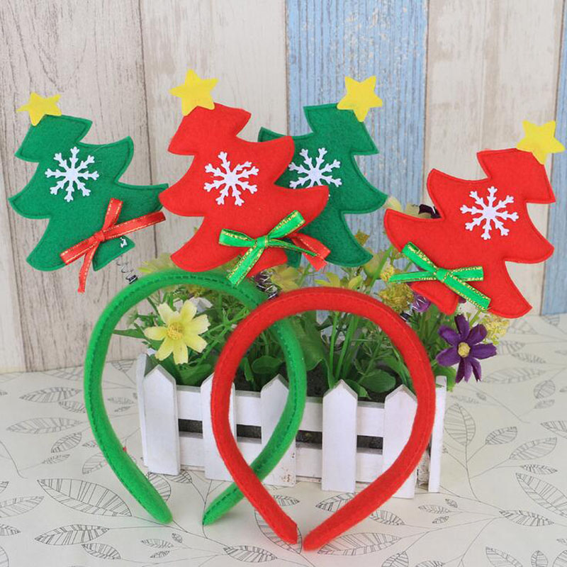 Fashion Kids Girl Boy Christmas Tree Design Headband Hairband Party Hat Costume Xmas Gift Red&Green(China (Mainland))