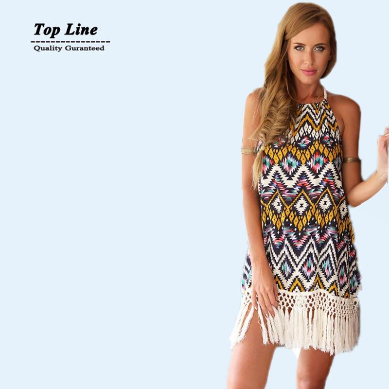 2015 Latest Designs Fashion Women Brand floral dress Apricot Spaghetti Strap Backless bohemian dress Elegance vestidos de fiesta(China (Mainland))