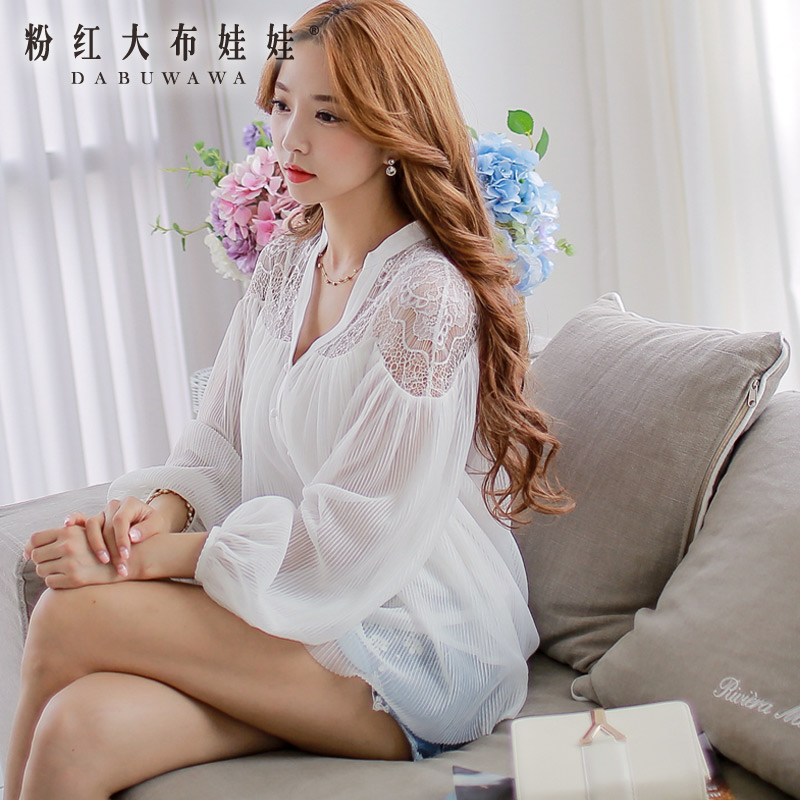 Shirt female Pink Doll 2014 autumn new Korean white lace yarn long sleeved shirts, women fight