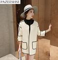 PAZEESHSE Fashion Coat Patchwork Slim Woolen Women Jacket Loose Autumn Winter Female Coat 3 4 Sleeve