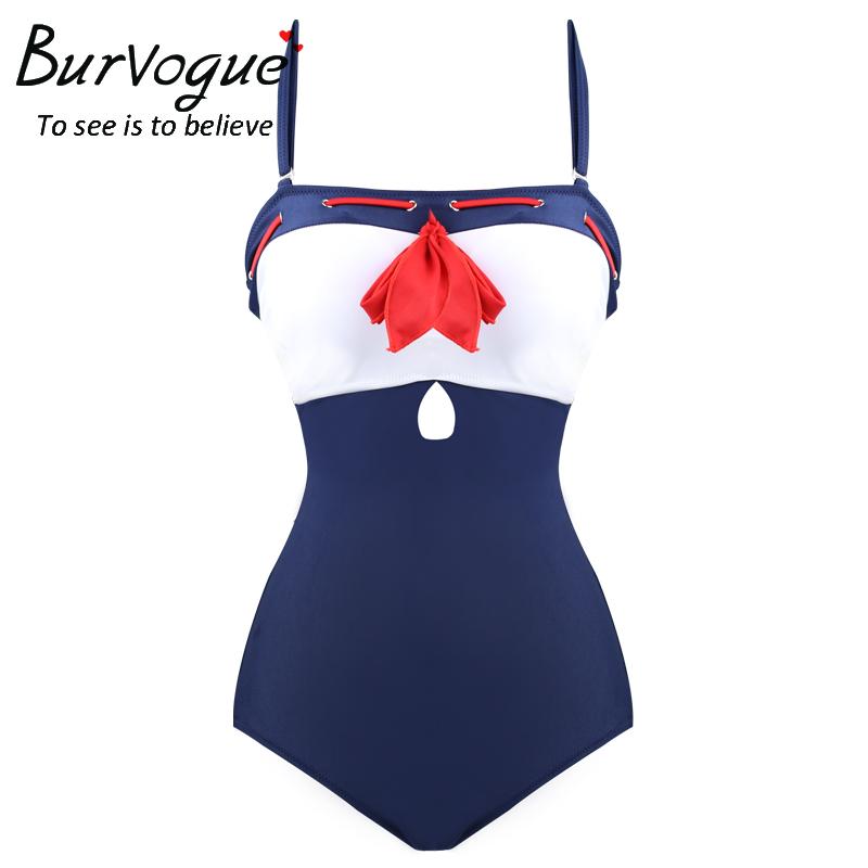 Burvogue Women 2016 Bathing Suits Swimwear Push Up Swimsuit One Piece Swimsuit Navy Style Swimwear Sexy and Hot Swimwear(China (Mainland))