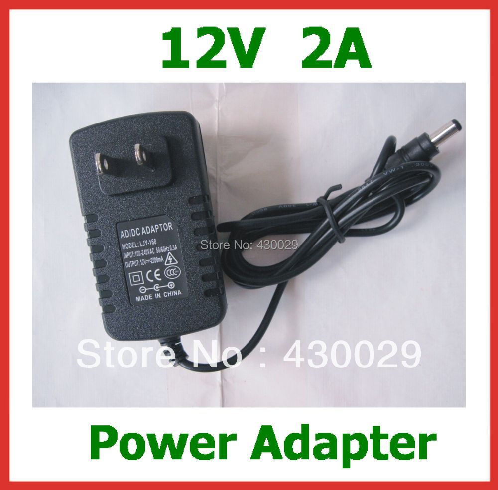 2pcs Power Adapter 12V 2A 5.5x2.5mm EU US Plug Charger AC 100-240V for Led Strips Lights or CCTV camera Wholesale Free Shipping(China (Mainland))