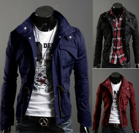 Free Shipping New Slim Sexy Top Designed Mens Jacket Coat Colour:Black,Army green,Gray,Wholesale&Retail,hot(China (Mainland))
