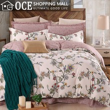 100% cotton bedding set king size,flower duvet cover set with bed sheet,Double single bedclothes,Twin/Queen bed linen set#CM4854(China (Mainland))